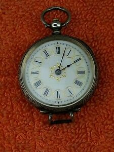 Antique Silver Swiss .935 Pocket Fob Watch Spares Repair C1890