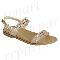 New women's shoes sandal open toe summer buckle closure comfort casual Rose Gold