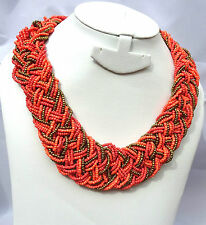 Forever 21 Orange Mixed Tone Braided Seed Beads Wedding Party Necklace Jewellery
