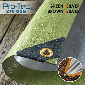 270GSM Tarpaulin Extra Heavy Duty Builders Waterproof Ground Sheet Cover Green
