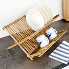 Bamboo Foldable Dish Drainer Wooden Plates Mugs Rack Stand Holder 2-Tier Folding