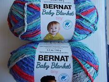 Bernat Baby Blanket Tiny plush yarn, Calico Quilt, lot of 2 (316 yds each)