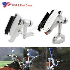 Silver Motorcycle Aluminum Cell Phone Holder Handlebar Mirror Mount for Phone US