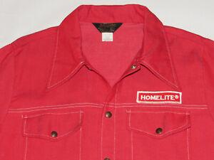 VINTAGE 1970s 'HOMELITE' RED DENIM JACKET BY SWINGSTER! LIGHTWEIGHT! SNAP-UP! XL
