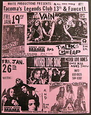 MOTHER LOVE BONE Legends Club TACOMA 1990 CONCERT Flyer PEARL JAM Ament Gossard