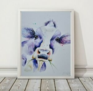 New large original signed contemporary watercolour art painting Holstein Cow