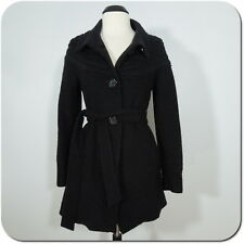 MERONA Women's Black Coat Collared, Wool Blend, Knit Cable Design, Lined, size M
