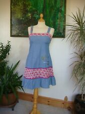 "Vintage Collectable ""Laura for Topshop"" Denim Embroidered Pinafore Dress UK 8"