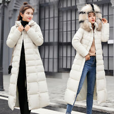 Women's Winter Coat Down Jacket Ladies slim Fur Hooded Jackets Knee Long Parka