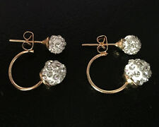Doppel Perlen Ohrringe Shamballa Kristall Zirkonia Ohrstecker Gold Kugel Hot