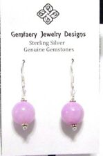 Sterling Silver Gorgeous Large Lilac Jade Dangle Earrings #5871.Handmade Usa