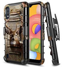 For Samsung Galaxy A01 Phone Case Belt Clip Kickstand Holster Hybrid Cover