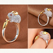 New Cute Finger Ring Crystals Bunny Jewelry Animal For Women Rabbit  Rings K40