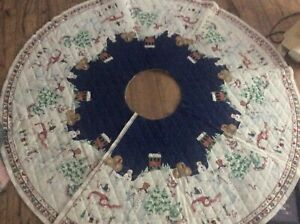 PEPPERMINT HILL CHRISTMAS TREE SKIRT WITH TRICOT BACKING - CUT & UNFINISHED