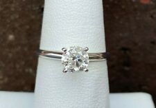 14K WHITE GOLD 1CT ROUND DIAMOND SOLITAIRE RING SIZE 6.75