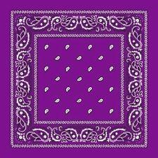 Grape Purple Paisley Center Cotton Bandana Scarf Handkerchief Hanky 18 X 18 Inch
