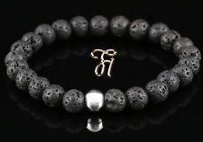 Lava 925er Sterling Silver Bracelet Pearl Bracelet Black 8mm