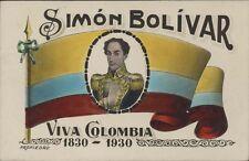 COLOMBIA SIMON BOLIVAR BANDERA NACIONAL 1830-1930 REAL PHOTO