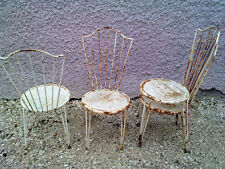4 chaises de jardin art deco design 40's fer forgé iron chair garden drouet ?