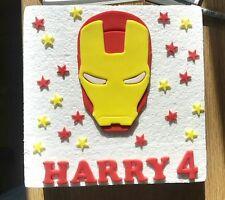 Edible Sugarpaste Iron Man Ironman Personalised Birthday Cake Topper Decoration