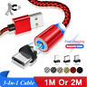 1M Or 2M Micro/IOS/Type-C 3-In-1 Magnetic Cable Nylon Braided LED Magnet Charger