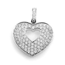 Poiray Corazón Secreto 18k Oro Blanco Diamante Pave Colgante Corazón PPC0230