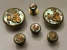 Victorian Gold Tone Mother of Pearl Rickshaw Cuff Buttons 4 Matching Shirt Stud