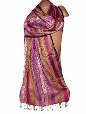 Etole  écharpe motifs cachemire violet prune rose ecru