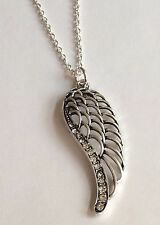 """Silver Crystal Angel Wing Necklace Plated 24"""" Inch Long Angels Wings Plus Size"""
