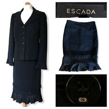Escada Ladies Suit Logo Jacket And Skirt Black Office Business Fitted