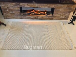 Eco Friendly Natural Striped Recycled Cotton Rich Jute Cream Beige Washable Rugs