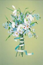 RARE Spring in the air flowers snowdrops forger-me-nots Russian modern postcard