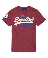 New Mens Superdry Vintage Logo Tri T-Shirt Burgundy Snowy