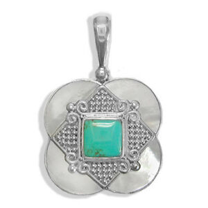 Offerings Sajen 925 Sterling Silver Handmade Turquoise & Mother of Pearl Pendant
