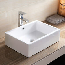 Bathroom Rectangle Porcelain Ceramic Vessel Sink Basin Bowl Popup Drain White