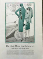 1929 Magazine Fashion Article The Smart Motor Coat is Leather Drawings by Ernst