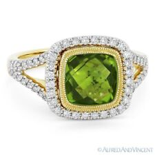14k Yellow & White Gold Right-Hand Ring 3.19 ct Peridot Gem & Diamond Pave Halo
