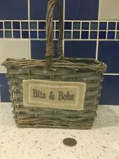 Grey Wicker Small Basket Bits & Bobs
