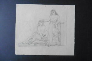 FRENCH NEOCLASSICAL SCHOOL CA. 1810 - CLASSICAL SCENE - PENCIL DRAWING