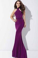 JOVANI ~ Purple Jersey Halter Beaded Racerback Trumpet Formal Gown 4 NEW $440