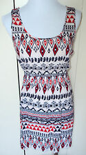 FOREVER 21 Twenty One Red White Blue Geometric Aztec Tribal Print Dress Small S