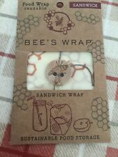 "Bee's Wax Reusable Washable Food Sandwich Wrap 13"" x 13"" With Tie Lunch To Go"