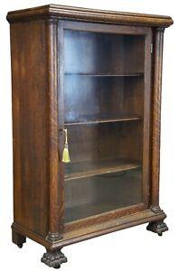 Antique Quartersawn Oak American Empire Display Curio Cabinet Library Bookcase
