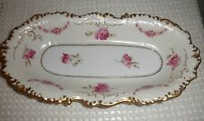 "OLD IVORY GERMANY ANTIQUE CELERY DISH 12"" BY 6"" ROSES GOLD TRIM EMBOSSED EDGES"