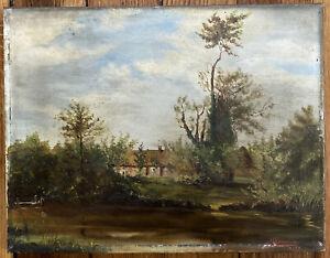 Tableau Barbizon Paysage de Campagne Peinture XIXème Huile signée M. Beauvivier