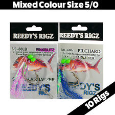 10 Snapper Rig Mixed Flasher Lure Size 5/0 Hook Fishing Rigged Paternoster Jig