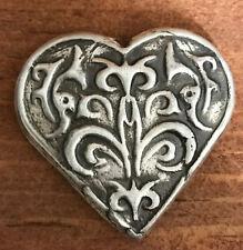 "2 Troy Oz  MK BARZ .999 Fine ""Victorian Heart""  SHAPE HEART SILVER BAR"