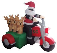 Christmas LED Air Blown Inflatable Decoration Santa Claus Reindeer on Motorcycle