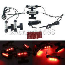 12 LED Car Charge Interior Atmosphere Mood Light RED Decorative Lamps 4 in 1