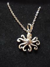 """Octopus Made From Fine Pewter On 18"""" Silver Plated Curb Chain Necklace codew13"""